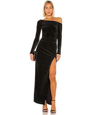 Черное бархатное вечернее платье на молнии с оборками Lovers + Friends