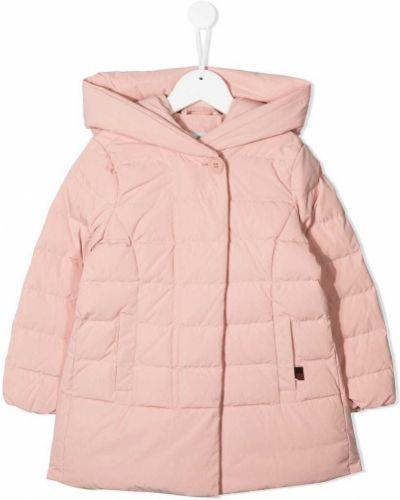 Классическое пуховое розовое длинное пальто с перьями Woolrich Kids