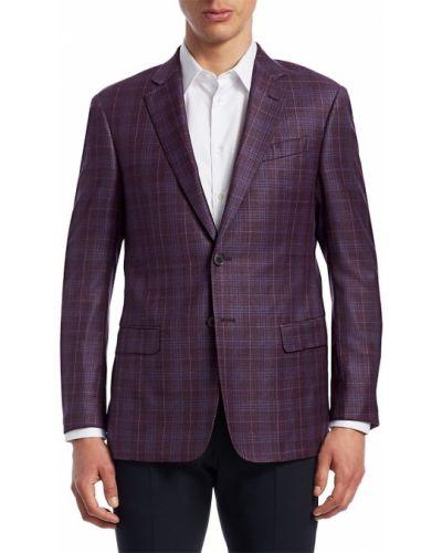 Малиновый классический пиджак в клетку с карманами Giorgio Armani