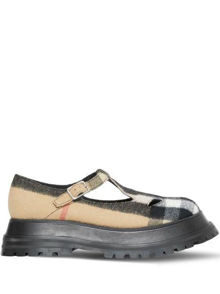 Кожаные бежевые туфли с круглым носом Burberry