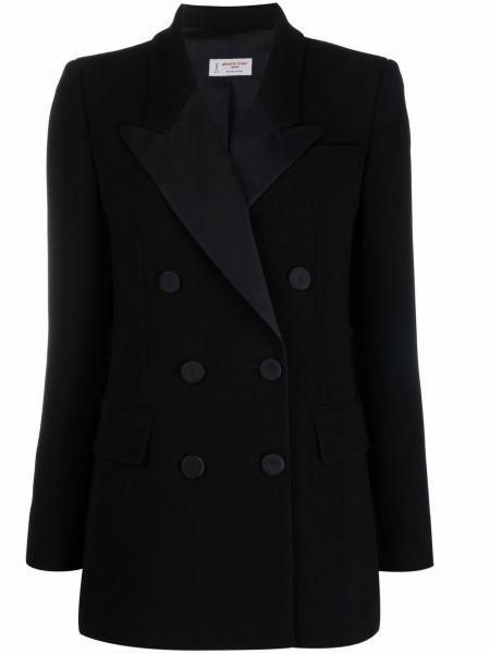 Черный удлиненный пиджак двубортный для полных Alberto Biani