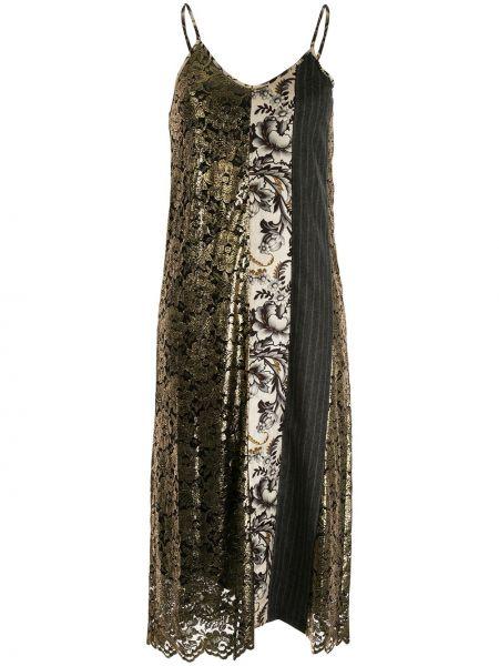 Czarna sukienka midi koronkowa z wiskozy Antonio Marras