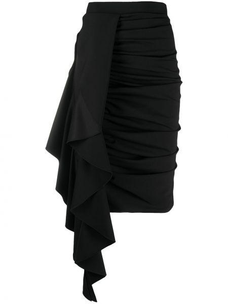 Шерстяная приталенная черная юбка с оборками Redemption