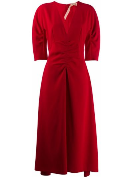 Платье миди с V-образным вырезом модерн N21