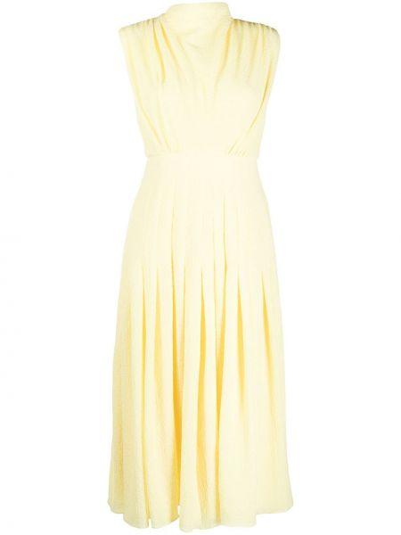 Плиссированное желтое приталенное платье без рукавов Emilia Wickstead