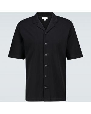 Повседневная облегченная черная рубашка с воротником Sunspel