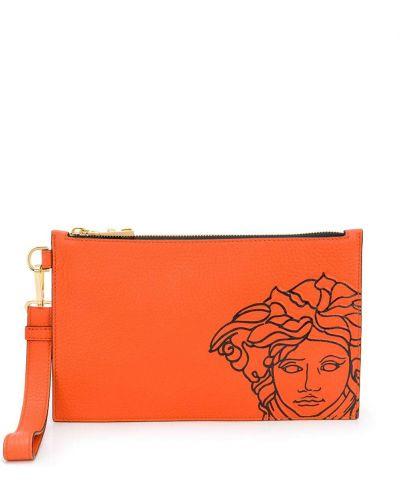 Z paskiem skórzany pomarańczowy torba sprzęgło z łatami Versace