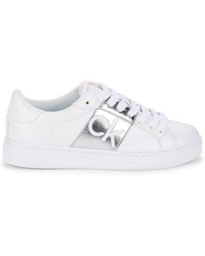 Белые кроссовки на платформе на каблуке Calvin Klein