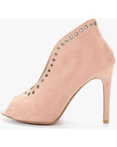 Туфли на каблуке с открытым носком замшевые Coco Perla