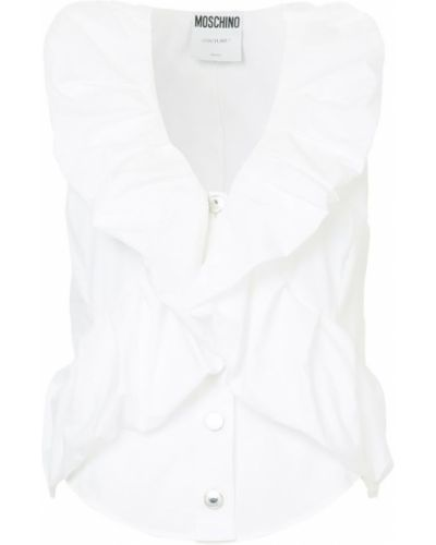 Блузка без рукавов с рюшами на пуговицах Moschino