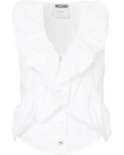 Белая блузка с рюшами Moschino