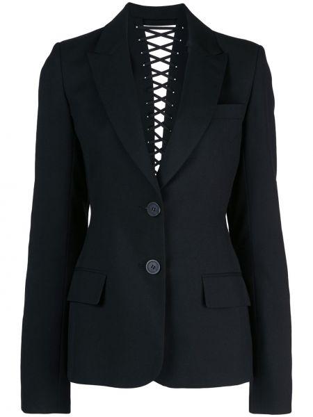 Шерстяной черный пиджак с карманами Vera Wang