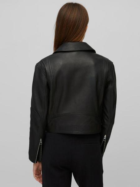 Черная кожаная куртка на молнии Marc O'polo
