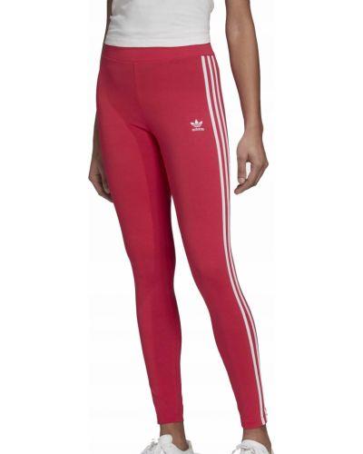 Różowe legginsy bawełniane w paski Adidas