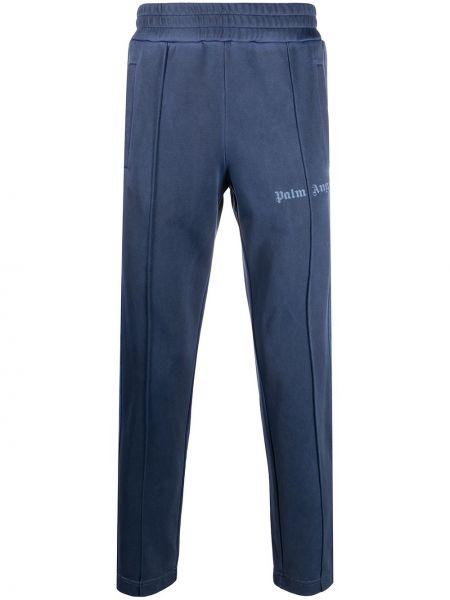 Niebieski sportowe spodnie z kieszeniami z haftem Palm Angels