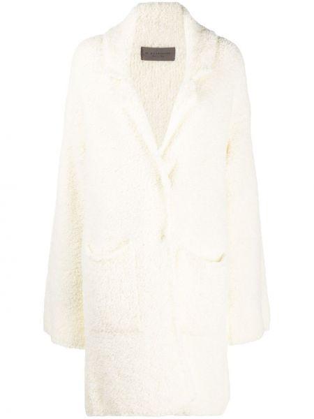 С рукавами шерстяное белое длинное пальто D.exterior