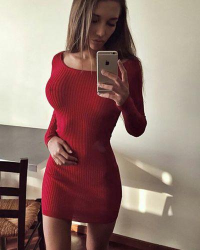 Платье мини из ангоры в рубчик Lacywear