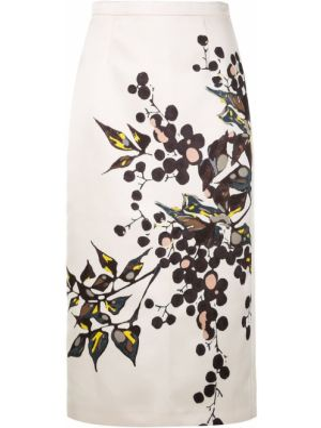 Biała spódnica ołówkowa z wysokim stanem z printem Rochas