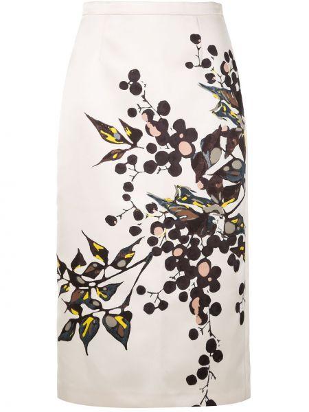 Белая юбка миди с разрезом на молнии Rochas