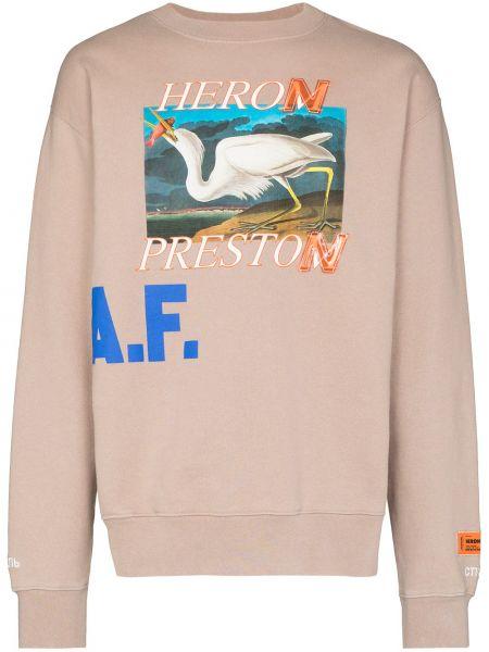 Beżowa bluza długa bawełniana z długimi rękawami Heron Preston