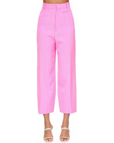 Różowe spodnie z wysokim stanem z paskiem Jacquemus