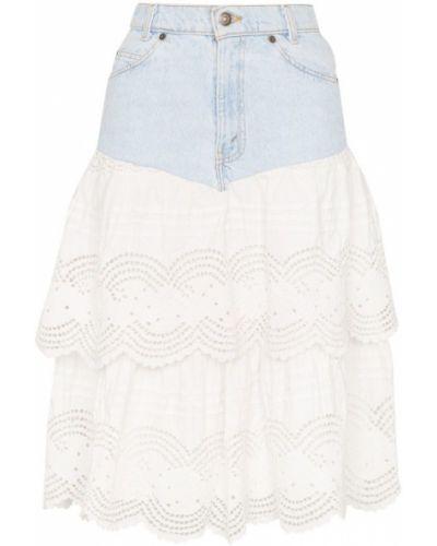 Синяя юбка миди с поясом винтажная в рубчик One Vintage