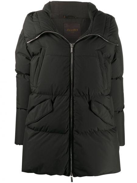 С рукавами черное пуховое стеганое пальто с перьями Moorer
