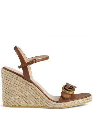 Sandały skórzane na obcasie - brązowe Gucci