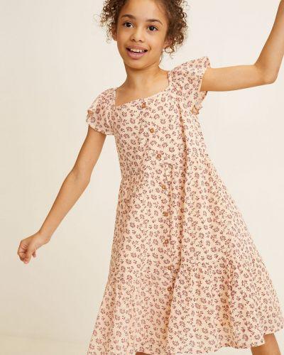 Платье с рукавами белое в клетку Mango Kids