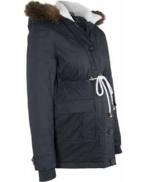 Черная зимняя куртка с опушкой с подкладкой из искусственного меха Bonprix
