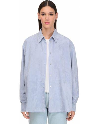 Кожаная рубашка - голубая Loewe