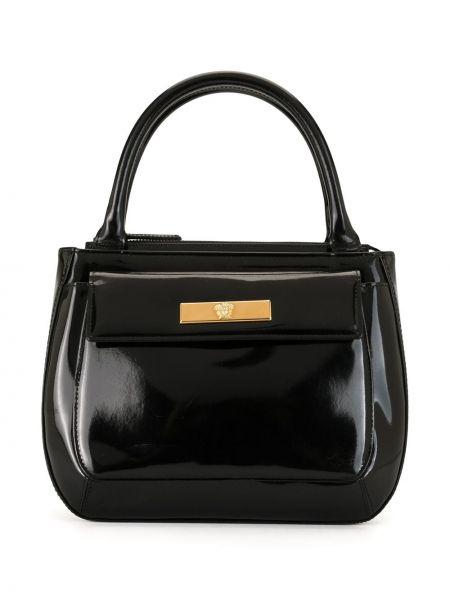 Черная кожаная сумка круглая на молнии с карманами Versace Pre-owned