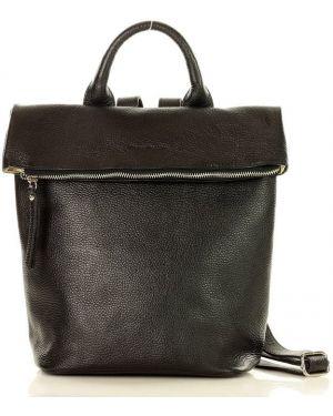 Skórzany plecak czarny włoski Mazzini