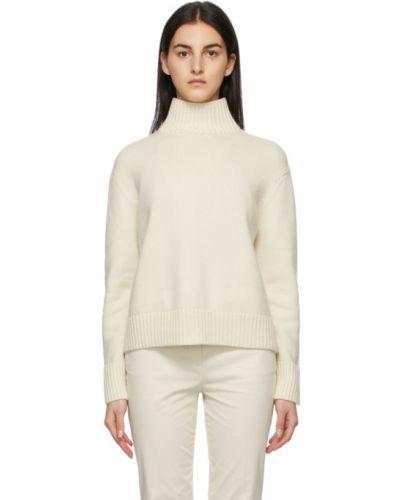 Белый кашемировый длинный свитер с воротником Loro Piana