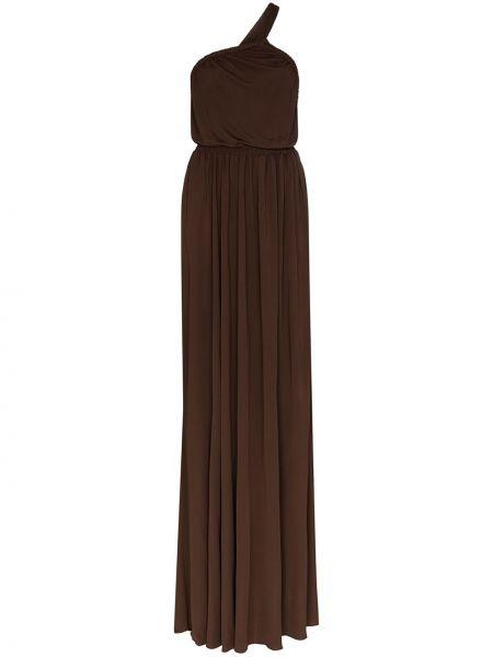 Коричневое платье макси со складками на одно плечо из вискозы Matteau