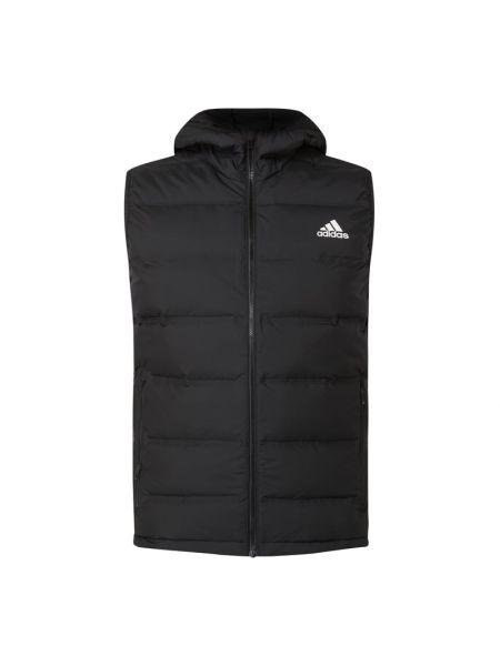 Bawełna czarny pikowana pikowana kamizelka z zamkiem błyskawicznym Adidas