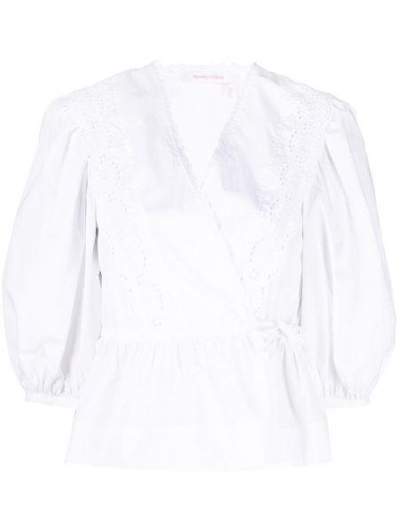 Хлопковая белая блузка с вышивкой See By Chloé