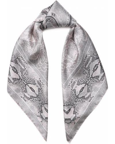 Серый шелковый платок Roberto Cavalli