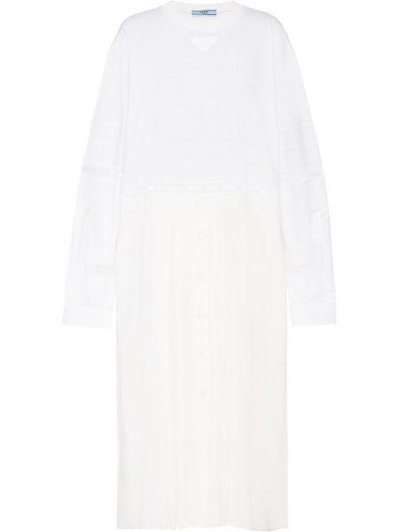 Свободное белое платье свободного кроя с вырезом Prada