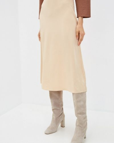 Бежевая прямая юбка карандаш Sela