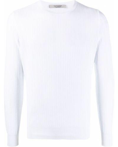 Biały pulower z długimi rękawami bawełniany La Fileria For D'aniello