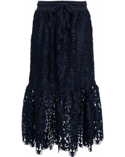 Кружевная юбка миди - синяя See By Chloé