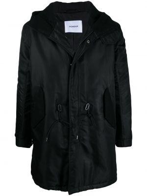 Черное пальто классическое с капюшоном с воротником Dondup