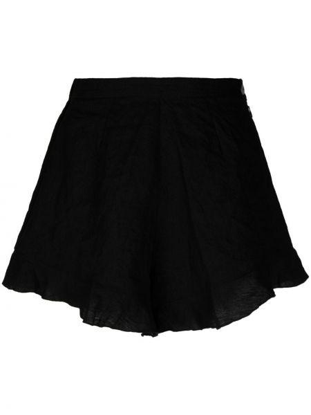 Льняные черные с завышенной талией шорты Forte Forte