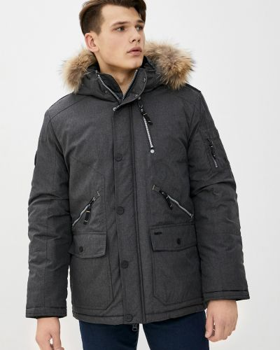 Серая куртка с капюшоном на молнии Baon