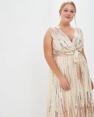 Вечернее платье осеннее золотой Goddiva Size Plus