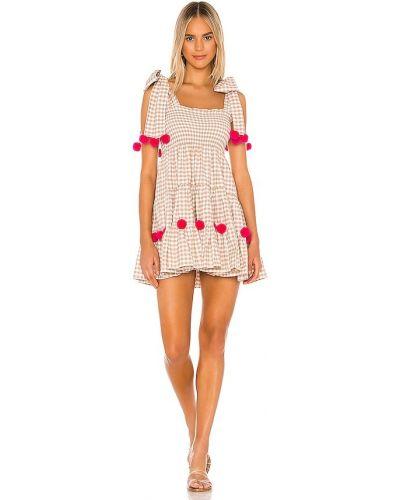 Хлопковое с ремешком розовое платье мини Sundress
