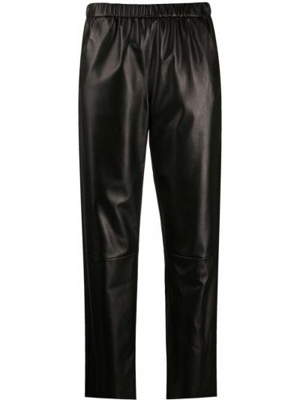 Кожаные черные укороченные брюки с карманами с высокой посадкой Drome