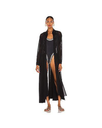 Нейлоновое черное кимоно с сеткой прозрачное Norma Kamali