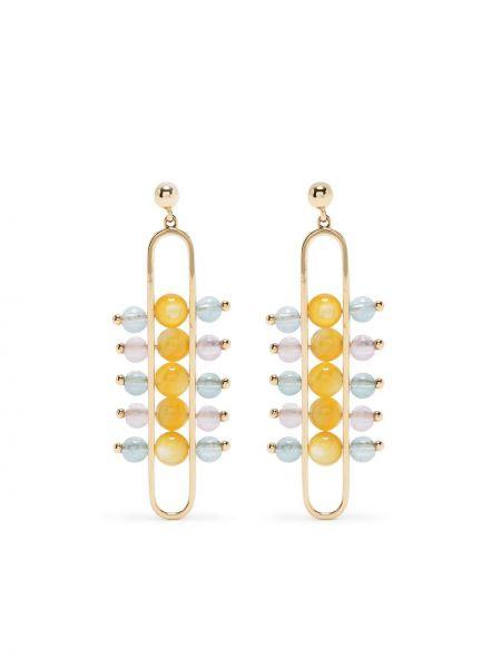 Золотистые золотые серьги золотые с жемчугом Zeemou Zeng